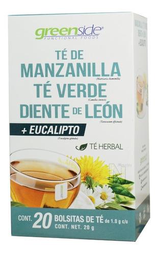 té manzanilla, verde, diente de león y eucalipto (20 bols)
