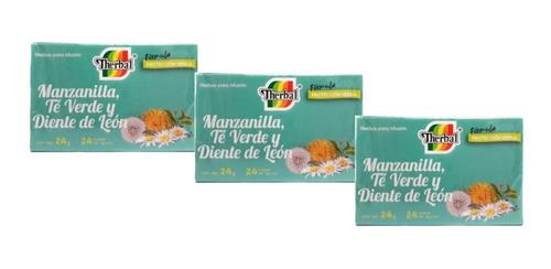 té manzanilla, verde y diente de leon 3 cajas therbal full