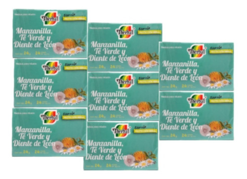 té manzanilla, verde y diente de leon (8 cajas) therbal full