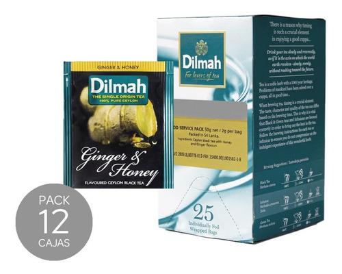 té negro dilmah jengibre & miel caja 12 unidades.