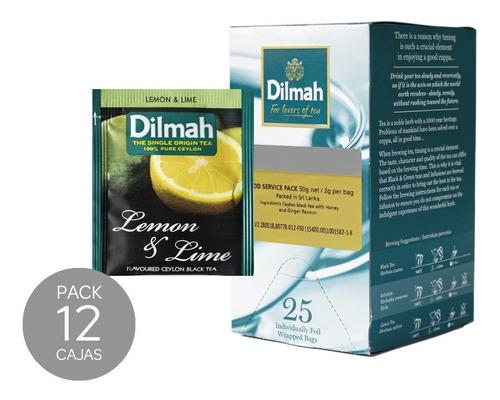 té negro dilmah lima limón caja 12 unidades.