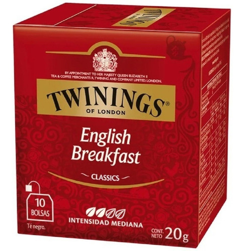 te twinings te ingles caja x 10 saquitos english breakfast