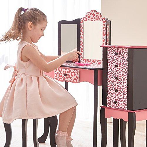 teamson niños - moda imprime las niñas tocador y taburete co