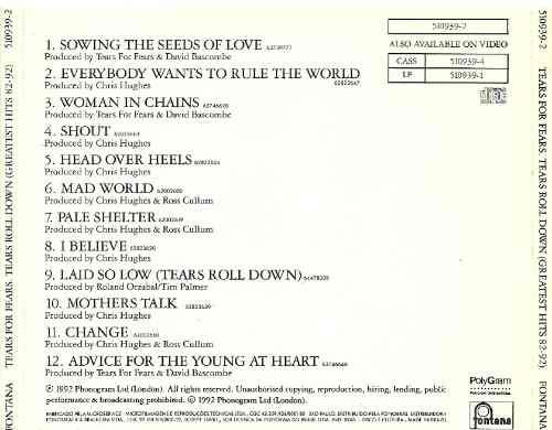 cd tears for fears tears roll down-greatest hits 82-92