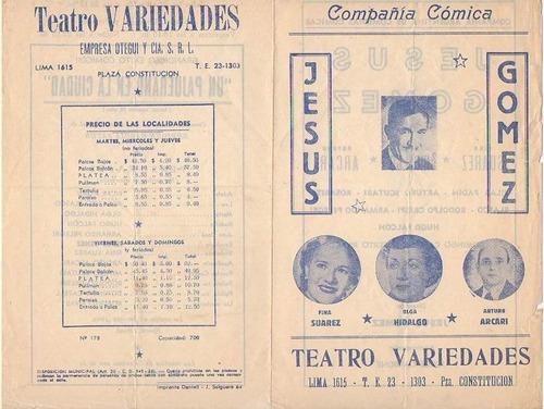 teatro variedades compañia comica antiguo programa (c)