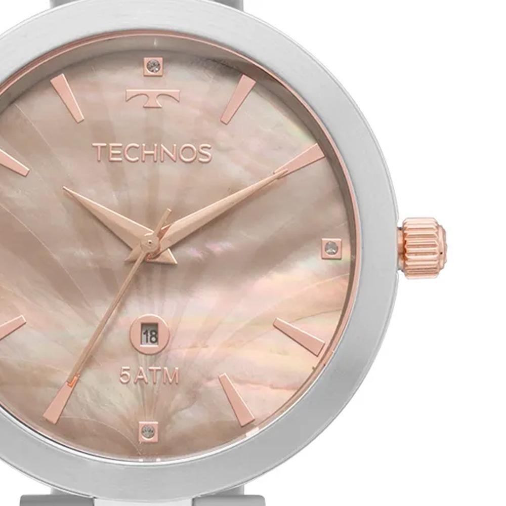 1c126f4b345 Relógio Technos Feminino Prata E Rosê Madrepérola Gl10ie 5f - R  359 ...