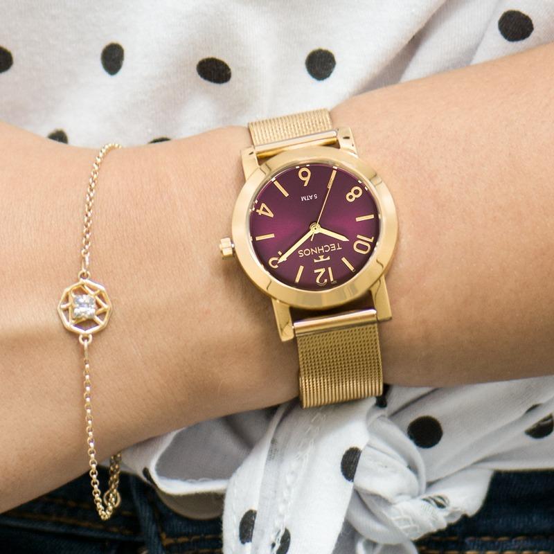 c8dc9049b59 Carregando zoom... 3 relógio technos feminino elegance dourado nfe ...