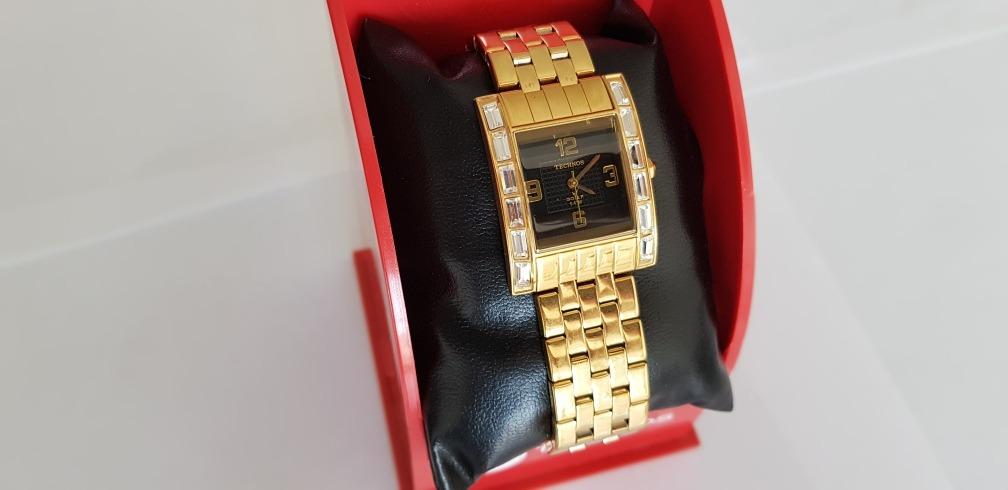 d6a00909f69 Carregando zoom... 2 relógio technos feminino na caixa novo folheado a ouro  lindo