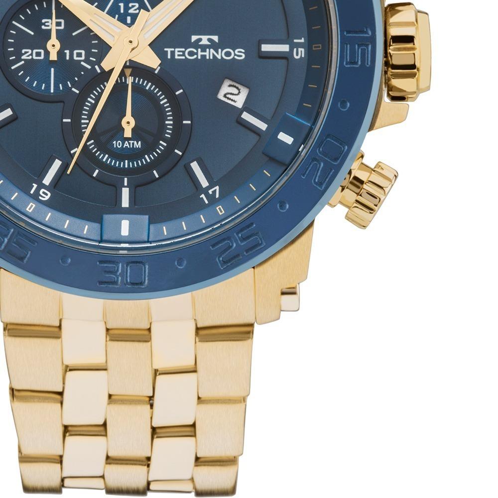 Relógio Technos Masculino Legacy Dourado Azul Nfe Js15er 4a - R  475 ... bf94be787d