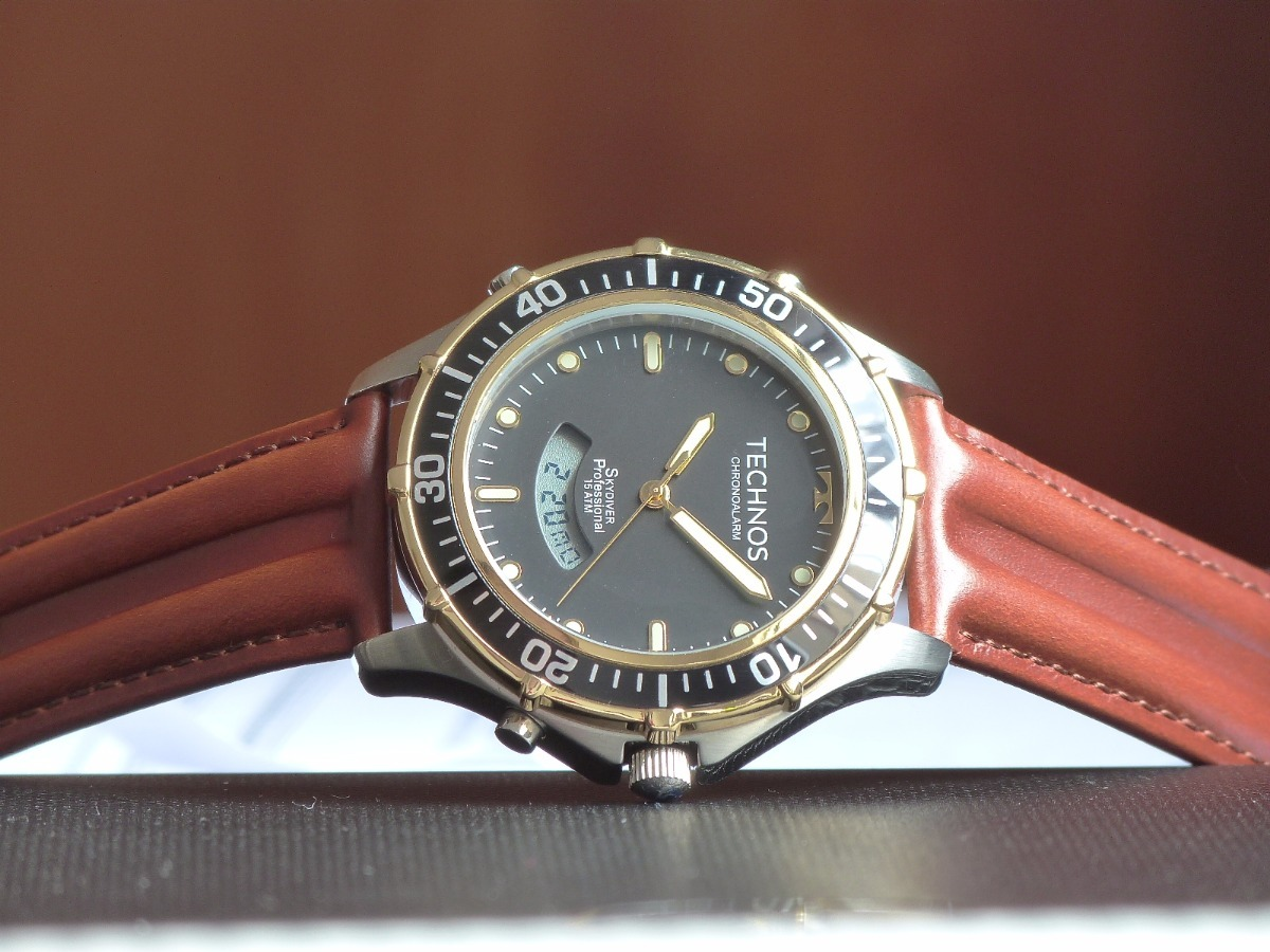 283f42610ccdc Relógio Technos Skydiver Preto Masculino T205ix op Couro - R  478,00 ...