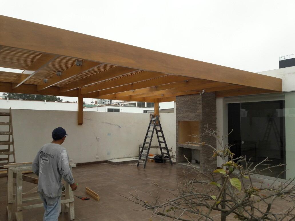 Techos de madera sol y sombra s 100 00 en mercado libre - Estructuras de madera para techos ...