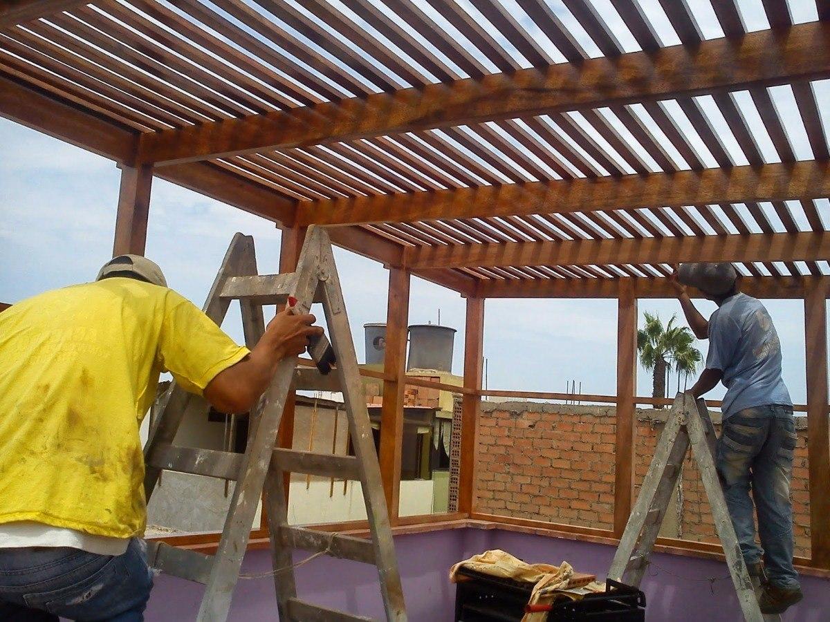 Techos sol y sombra en terraza pergolas de madera s 1 for Techos de metal para terrazas