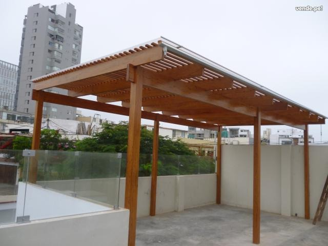 Techos sol y sombra madera s 1 00 en mercado libre for Techos de metal para terrazas