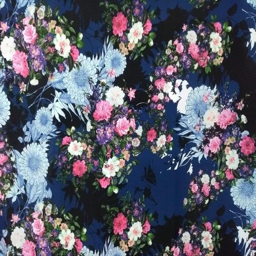 tecido crepe georgete estampado floral 1,50x1,00  metro
