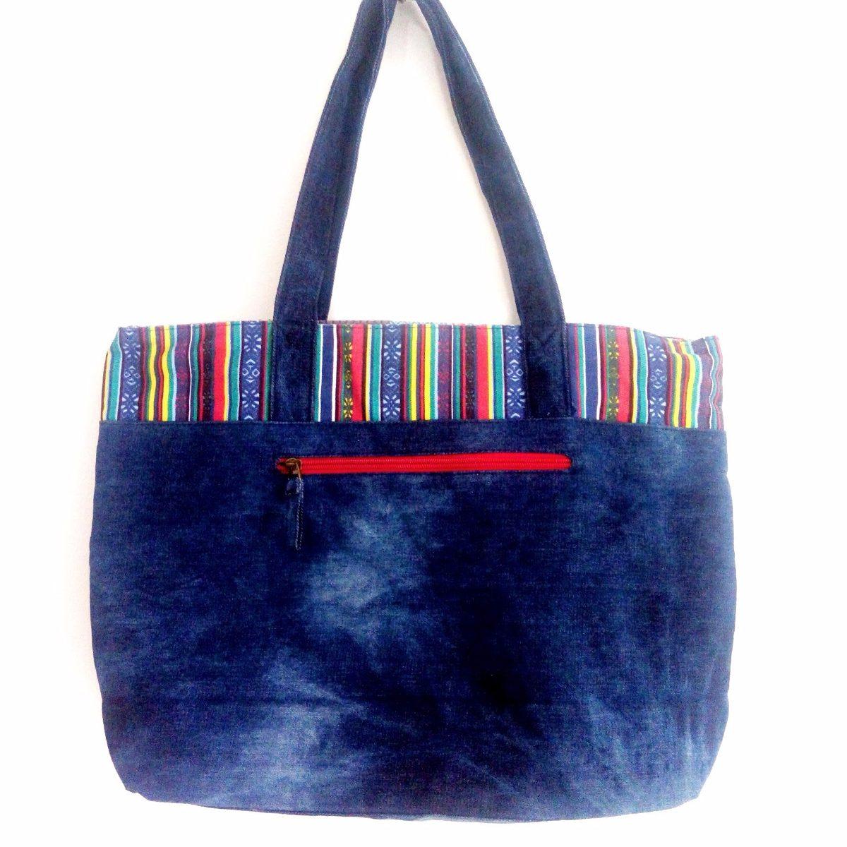 54a0f4db4 Carregando zoom... bolsa tecido feminina sacola jeans patchwork importada