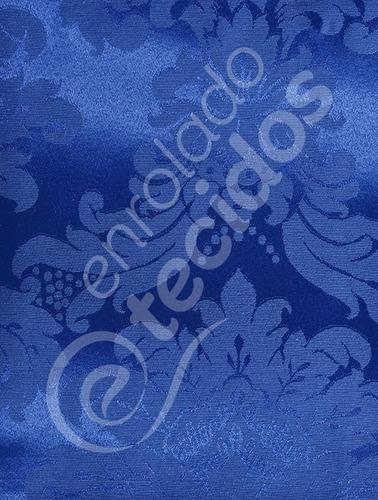 tecido jacquard azul royal brocado 15m x 2,8m para decoração