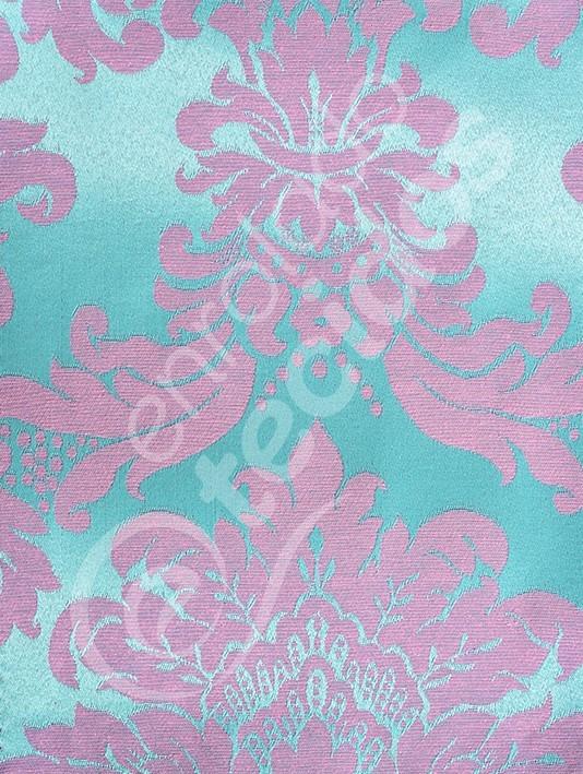 5f30bcddeffc0 Tecido Jacquard Azul Tiffany E Rosa Medalhão 2m X 2