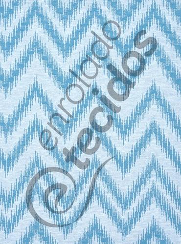 tecido jacquard chevron turquesa branco decoração 1m x 2,8m