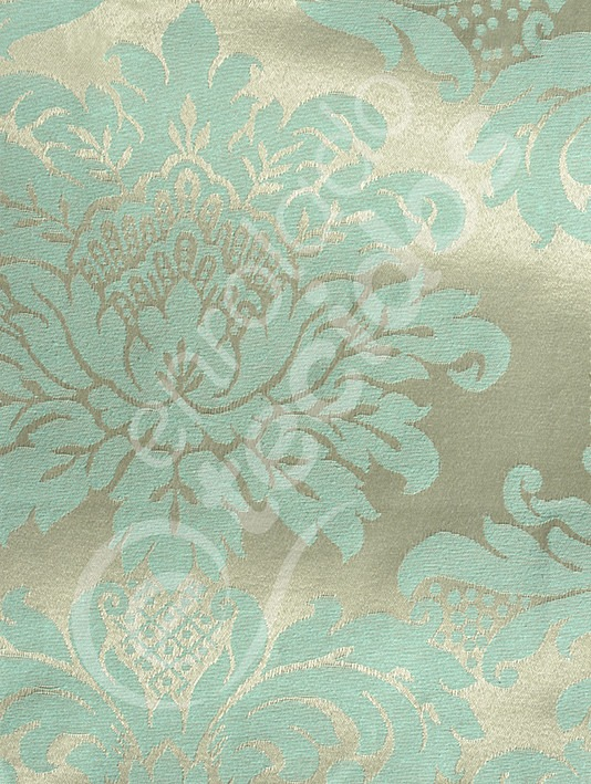 6e640334f5b41 Tecido Jacquard Dourado Com Azul Tiffany Medalhão 5m X 2