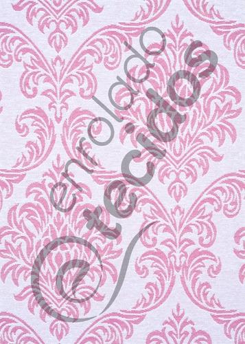 tecido jacquard fio tinto medalhão rosa 1m x 2,8m decoração