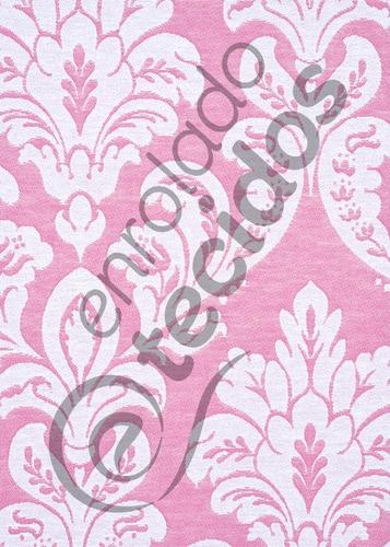 tecido jacquard fio tinto rosa medalhão 1m x 2,8m decoração