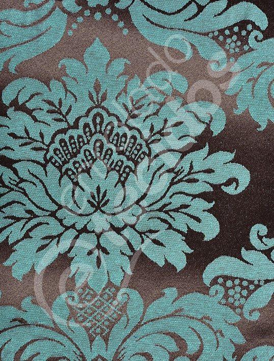 7cf79fbebfbb9 Tecido Jacquard Marrom Com Azul Tiffany Medalhão 5m X 2