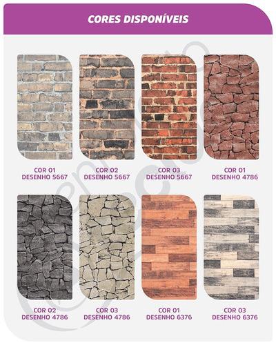 tecido jacquard parede wall 6m x 1,4m tijolo pedra madeira
