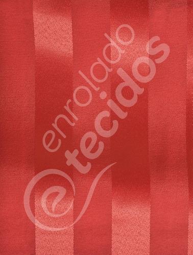tecido jacquard vermelho listrado 10m x 2,80m para decoração