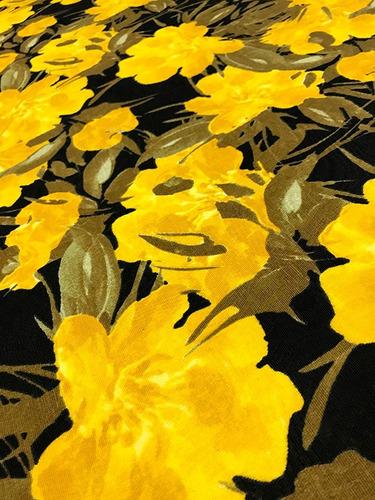 tecido para estofados jacquard floral amarelo e preto 1m