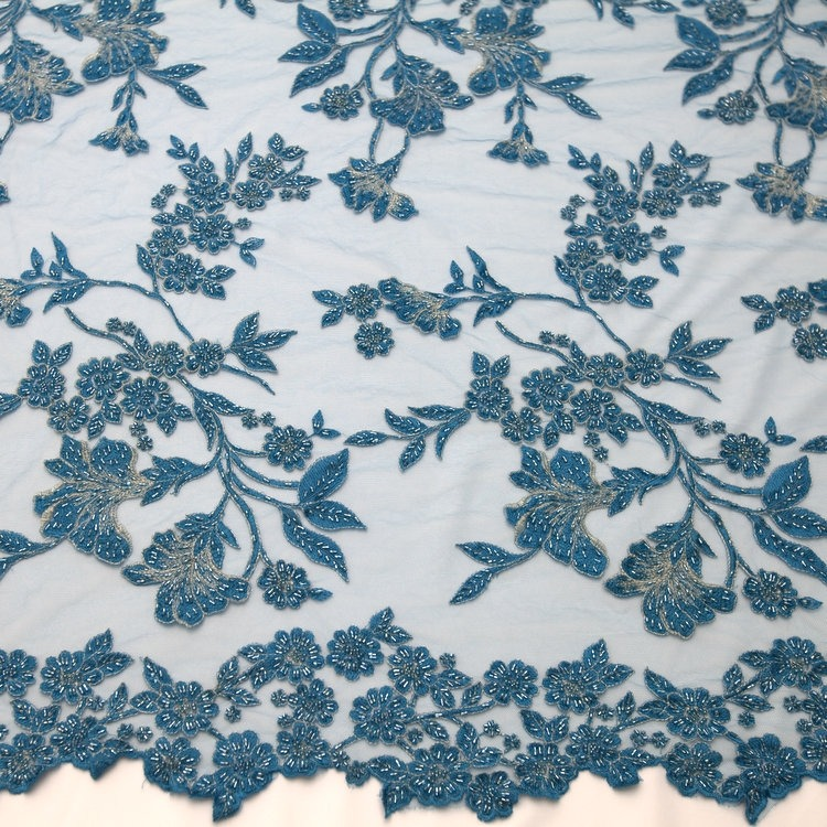 Tecido Renda Bordada Azul Turquesa - R  251,00 em Mercado Livre f27ae80c26