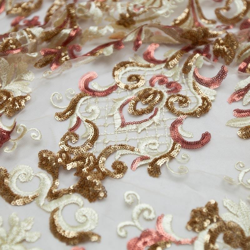4c9db814d68 tecido renda tule bordado arabesco paetê dourado rosê. Carregando zoom.