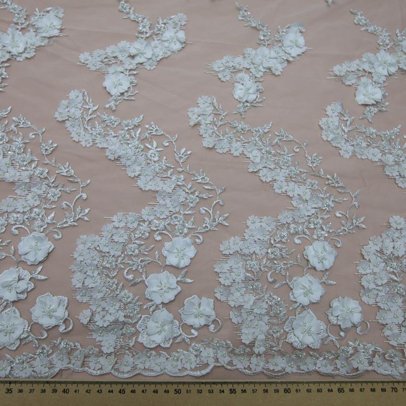 0fe75a8d8 tecido renda tule bordado pedraria flores 3d off white. Carregando zoom.