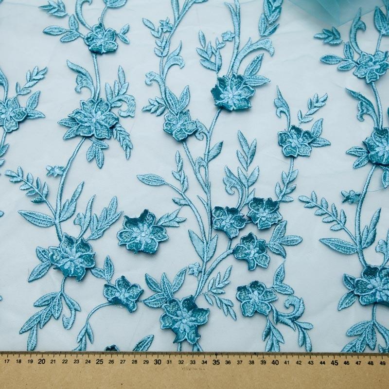 40300661e tecido renda tule bordado verde água neblina flores 3d. Carregando zoom.