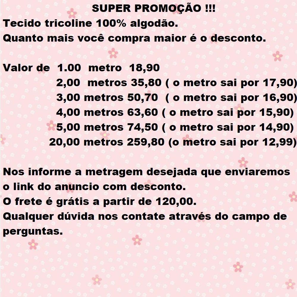 d582d2faa084e3 Tecido Tricoline 100% Algodão 1,50x1,00 Metro