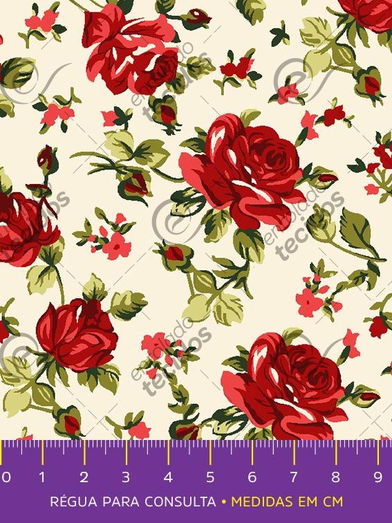 cd342ae111 Tecido Tricoline Estampado Floral Vermelho Pérola 1m X 1