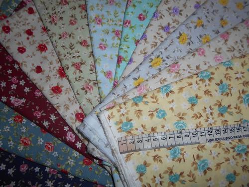 tecido tricoline p/ patchwork kit  11 retalhos 50x70cm h11f