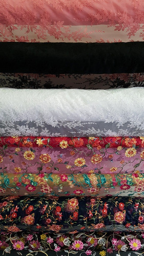 tecido tule bordado chain 1 metro cores lisas florais