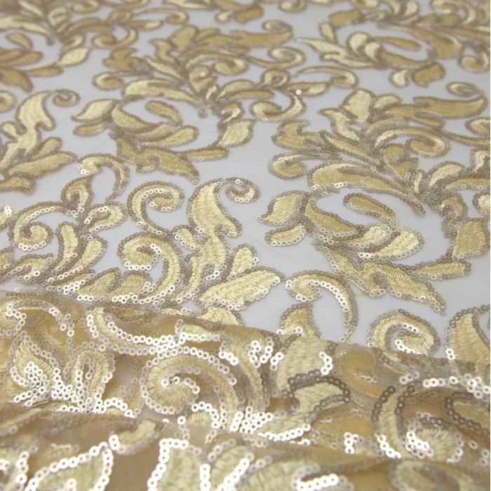 0d98dea7ec3 Tecido Tule Bordado Paetê Lã Dourada - R  165