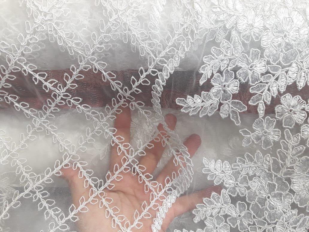 e860eaec1 Tecido Tule Renda Nobre Bordado P/ Vestido Noiva Luxo Medida - R ...