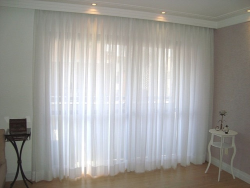 tecido voil voal branco liso p/ cortina 6 metros largura 3m