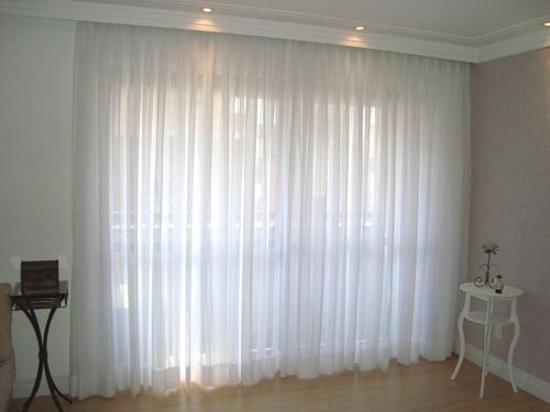tecido voil voal branco liso p/ cortina com 3 metros largura