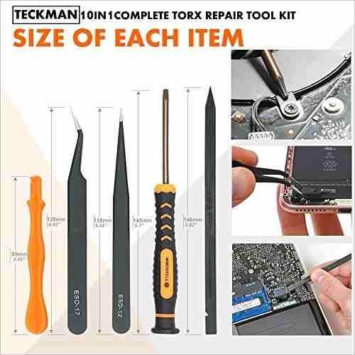 teckman juego de destornilladores torx 10 en 1 con t3 t4 t5