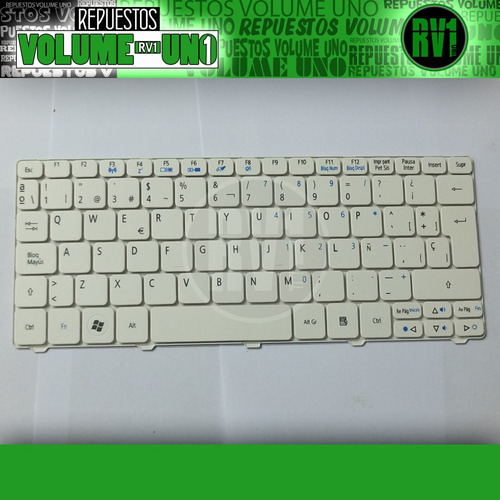 teclado acer one 532h d260 d255 d270 em350 lt28 lt40 blanco
