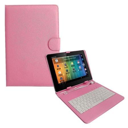 teclado android p/ tablet 8 polegadas rosa + cabo otg
