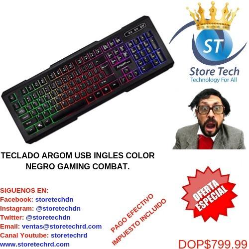 teclado argom usb ingles color negro gaming combat.