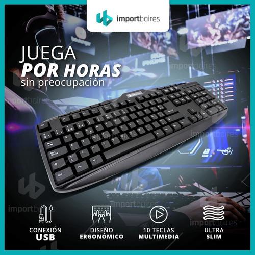 teclado black con cable usb letra ñ pc notebook windows