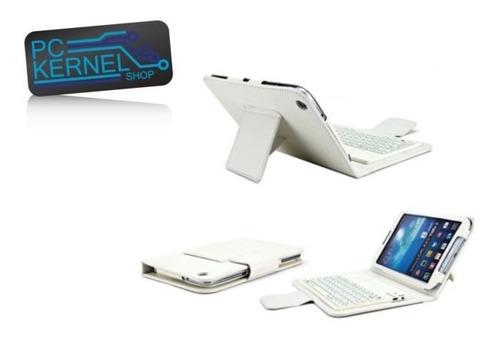 teclado bluetooth protector cuero blanco tablet 7  p1000