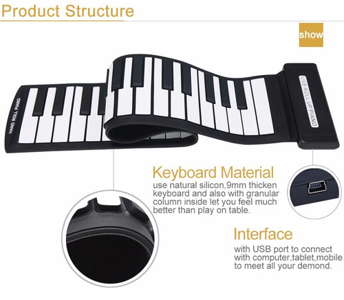 teclado controlador midi flexível 49 teclas usb - konix-md49