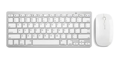 teclado e mouse sem fio 2.4 ghz mini slim usb - prata e bran