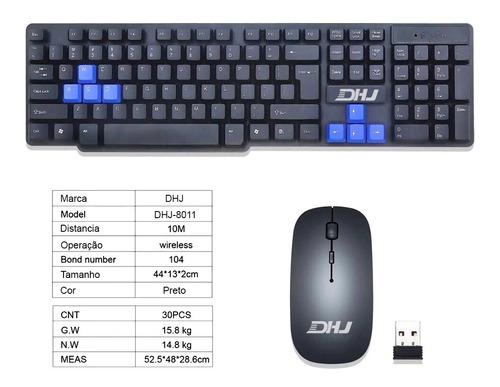 teclado e mouse sem fio óptico haiz-8011 clássico notebook